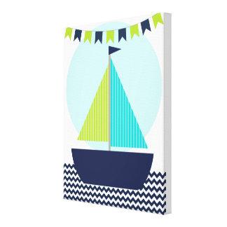 Segelboot und Fahnen-Baby-Kinderzimmer-Leinwand Leinwanddruck