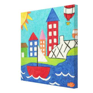 Segelboot-und Heißluft-Ballon mit Stadtbild Leinwanddruck