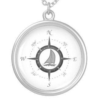 Segelboot-und Kompass-Rose Selbst Gestaltete Halskette