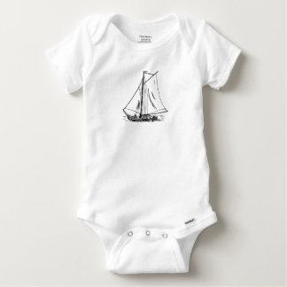 Segelboot-Zeichnen Vintag Baby Strampler