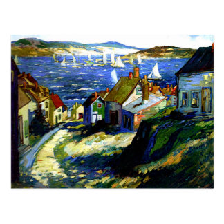 Segelboote durch den Hafen, Kunstmalerei Postkarte