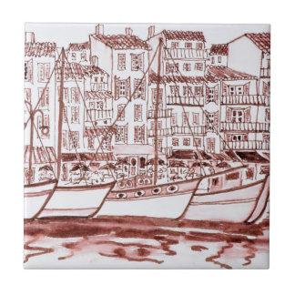 Segelboote festgemacht im Hafen | Cassis, Keramikfliese
