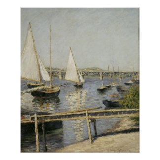 Segelboote in Argenteuil durch Gustave Caillebotte Poster