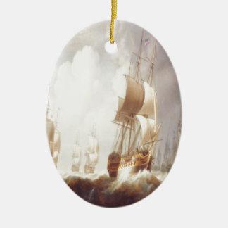 Segelboote, Träume, nebelhafter Morgen Ovales Keramik Ornament