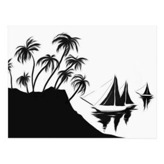 Segelboote und Palmen Postkarte