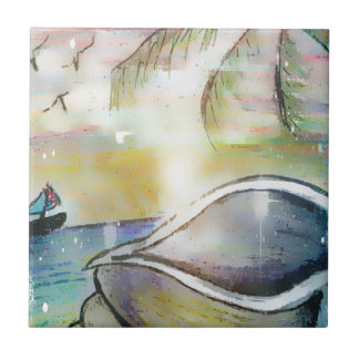 Segelboote und Seashells Fliese