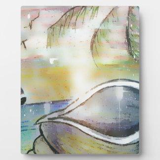 Segelboote und Seashells Fotoplatte