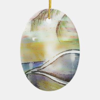 Segelboote und Seashells Keramik Ornament