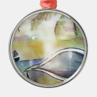 Segelboote und Seashells Silbernes Ornament