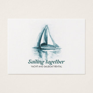 Segelboots-Aquarell Visitenkarte-Schablone Jumbo-Visitenkarten