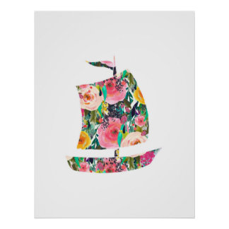 Segelbootseewanddruck-Kinderzimmerkunst Poster