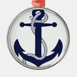 Segeln-Anker-Marine Rundes Silberfarbenes Ornament