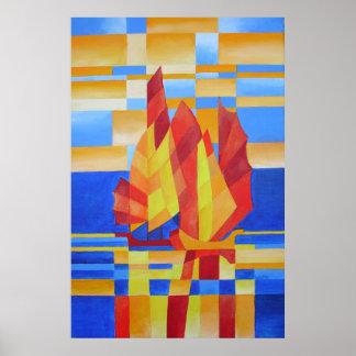 Segeln auf den sieben Seeso blauen Cubist abstrakt Poster