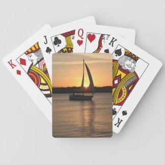 Segeln in Cardiff-Bucht am Sonnenuntergang Spielkarten