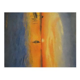 Segeln in einen LBI Sonnenuntergang Postkarte