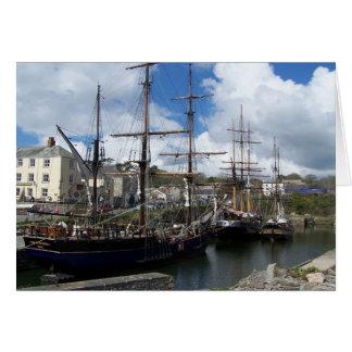 Segeln-Schiffe Charlestown Hafen-Cornwall-Foto Karte