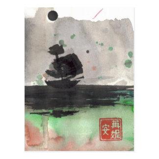 Segeln-Schiffs-Silhouette-leere Karte