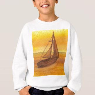 Segeln-Segelboot-Sonnenuntergang-hübsche goldene Sweatshirt