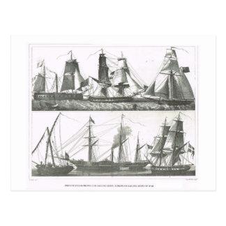 Segeln und Dampfschiffe Postkarte