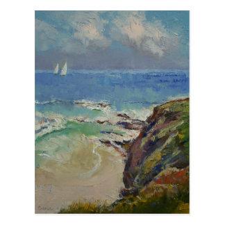 Segeln weg von der Bucht Postkarte