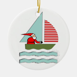 Segeln-Weihnachten Rundes Keramik Ornament