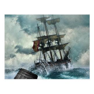 Segelschiff in der Sturm-Illustration Postkarte