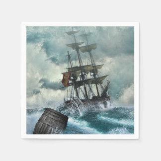 Segelschiff in der Sturm-Illustration Serviette