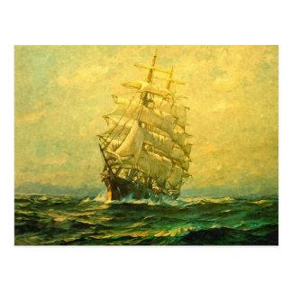 Segelschiff kreuzt den Atlantik Postkarte