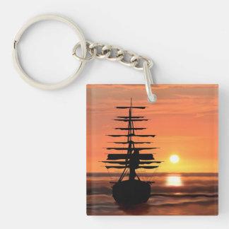 Segelschiff mit Sonnenaufgang Schlüsselanhänger