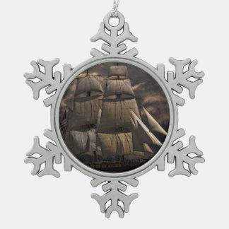 Segelschiff-Schiff Schneeflocken Zinn-Ornament