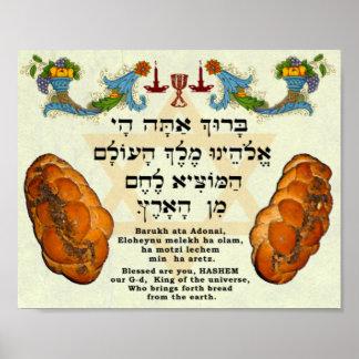 Segen für Brot, Hebräer und Englisch Poster