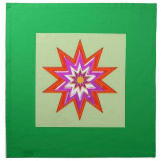 SEGEN-MAGIE Hintergrund des STERNES grüne Billig Stoffserviette