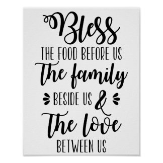 Segnen Sie die Nahrung vor uns Familien-Plakat Poster