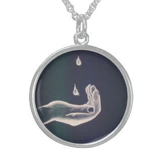 Segnungstropfen Gottes, 2,54 cm Sterling Silberkette