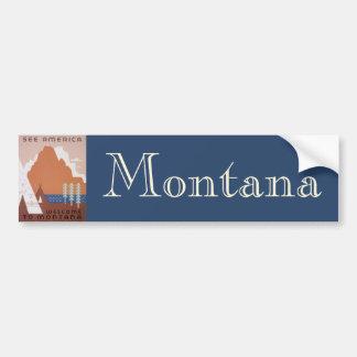 Sehen Sie Amerika-Willkommen nach Montana, Vintage Autoaufkleber