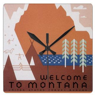 Sehen Sie Amerika-Willkommen nach Montana, Vintage Quadratische Wanduhr