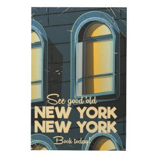 Sehen Sie gutes altes New- Yorkreiseplakat Holzdruck