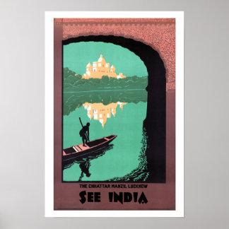 Sehen Sie Indien Chattar Manzil - Vintage Reise Posterdruck