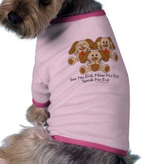 Sehen Sie keine schlechten Welpen Haustier T-shirts
