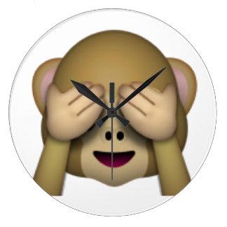 Sehen Sie keinen schlechten Affen - Emoji Große Wanduhr