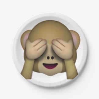 Sehen Sie keinen schlechten Affen - Emoji Pappteller