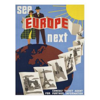 Sehen Sie Reise-Plakat-Postkarte Europas Vintage Postkarte