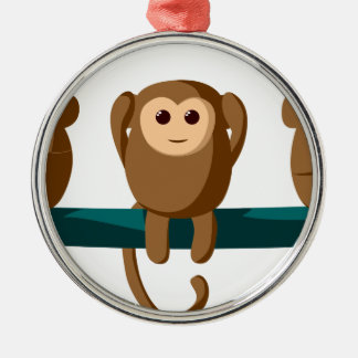 Sehen Sie zu hören, Affen zu sprechen Silbernes Ornament