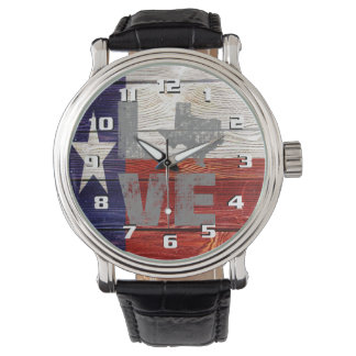 Sehr coole rustikale Texas-Flaggen-patriotische Uhr