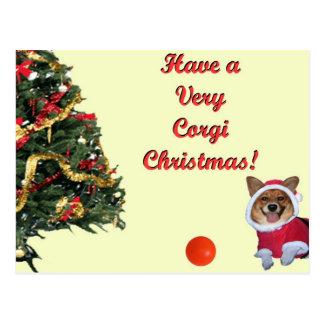 Sehr Corgi Weihnachten-Gnade Gelb-Postkarte Postkarte