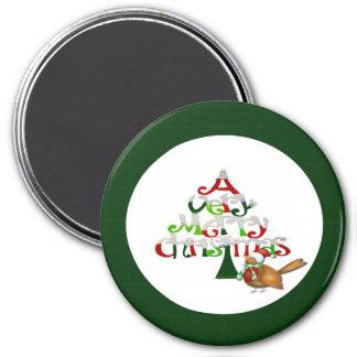 Sehr frohen Weihnachten Runder Magnet 7,6 Cm