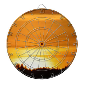 Sehr orange Sonnenuntergang Dartscheibe