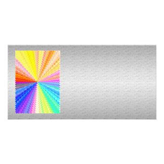 Seidener silberner grafischer Regenbogen-Funken Photo Karten