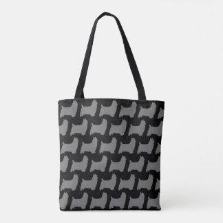 Seidiger Terrier-Silhouette-Weihnachtsmuster Tasche