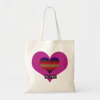 Seien Sie Bergwerk-Valentinsgruß-Regenbogen-Herz Tragetasche